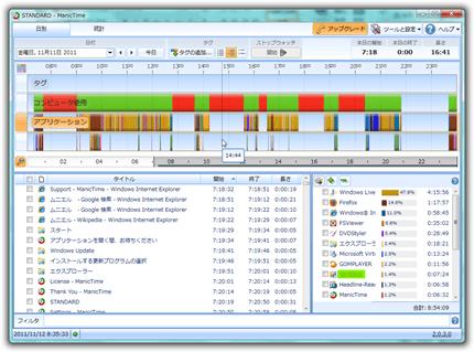 ManicTime:プログラムの起動、ファイルのアクセスを記録