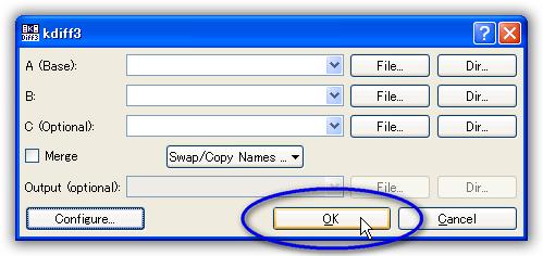 KDiff3 設定を変更しての日本語の表示