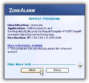 ZoneAlarm Free Firewall インストール時のネット接続を一時的に遮断(切断)