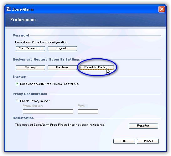 ZoneAlarm Free Firewall / 設定のリセット(Rest to Default)