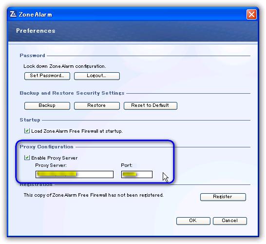 ZoneAlarm Free Firewall / プロキシサーバーの設定