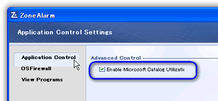 ZoneAlarm Free Firewall / Enable Microsoft Catalog Utilization