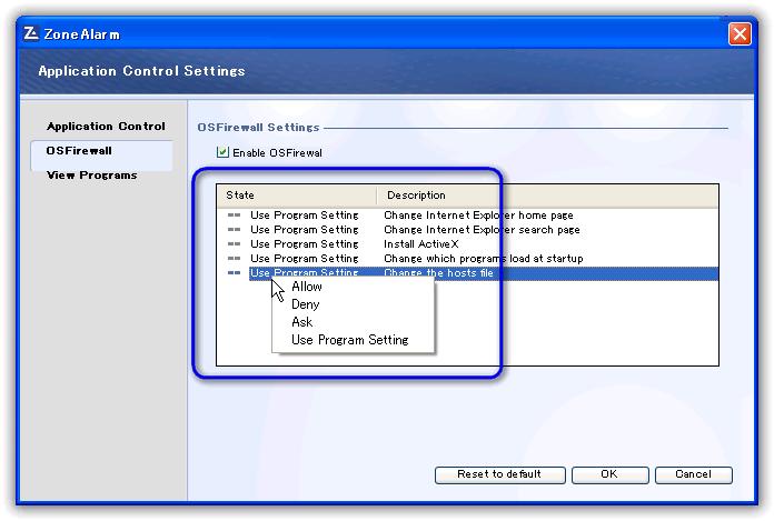 ZoneAlarm Free Firewall / OSFirewall