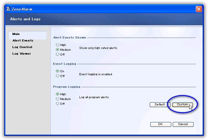 ZoneAlarm Free Firewall/ プログラムログのカスタム設定(Custom Program Log Settings)