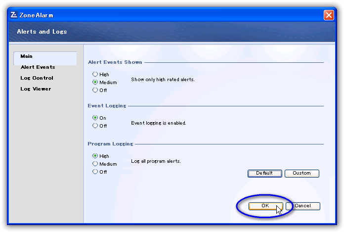 ZoneAlarm Free Firewall/ プログラムログのメイン(Main)