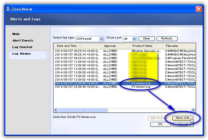 ZoneAlarm Free Firewall/ ログ表示(Log Viewer)